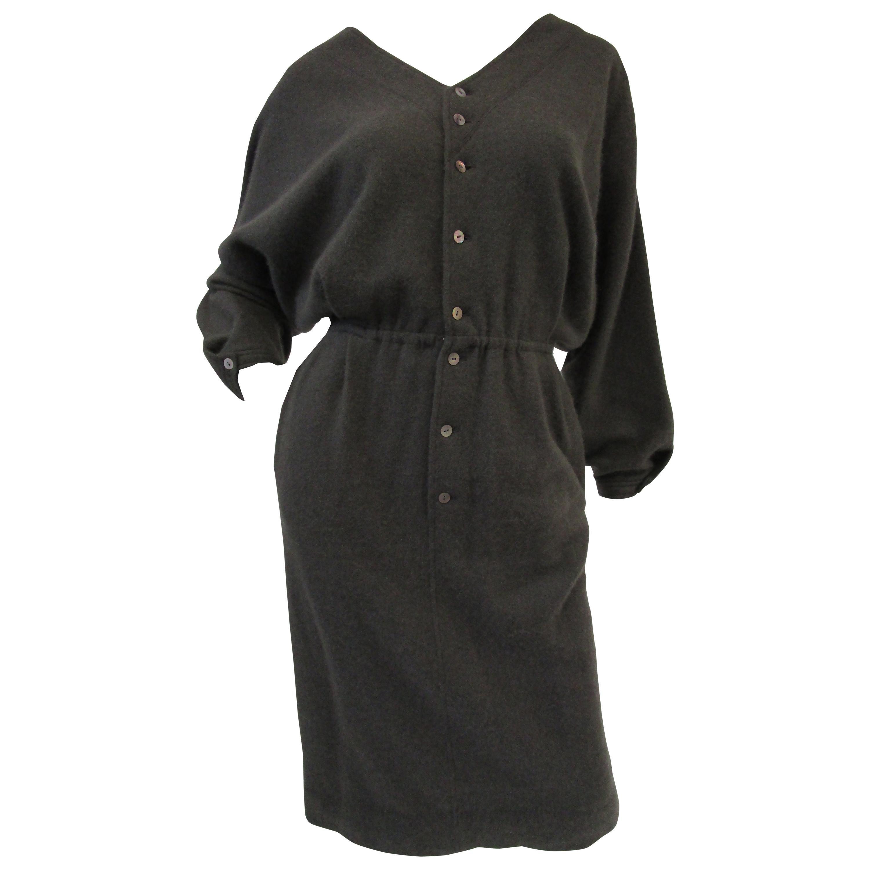 1990s Angora Blend Warm Grey Bat Wing Sweater Dress