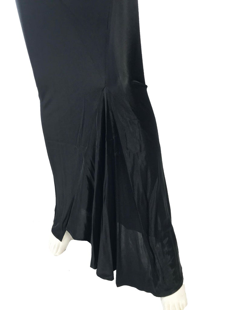Women's 1990s Ann Demeulemeester form fitting gown with kick pleat For Sale