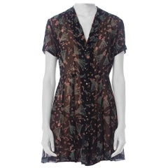 1990S Anna Sui Black Silk Chiffon Iconic & Famous Ballerina Baby Doll Dress From