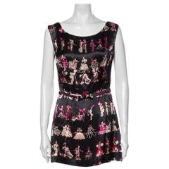 1990s Anna Sui Victorian Print Silk Mini Dress