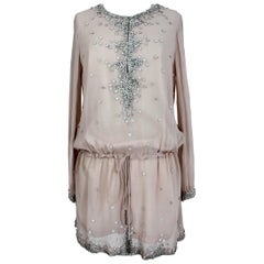 1990s Antik Batik Pink Powder Silk and Leather Sequins Kaftan Blouson Dress