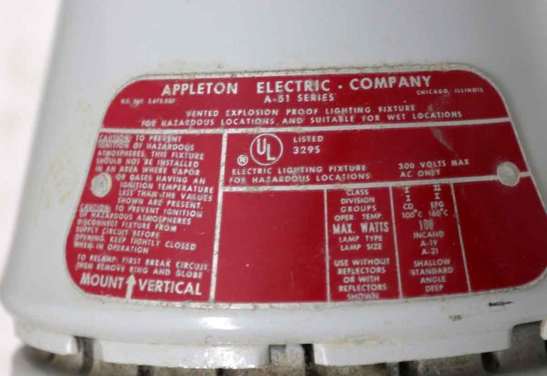 American 1990s Appleton A-51 Series Industrial Explosion Proof Ceiling Light For Sale