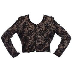 1990S ARMANI Black Lace & Silk Chiffon Beaded Dinner Jacket