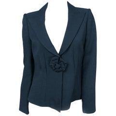 1990s Armani Black Wool Jacket With Cocarde Closure