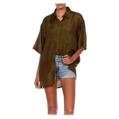 1990S Army Green Silk Short Sleeve Shirt