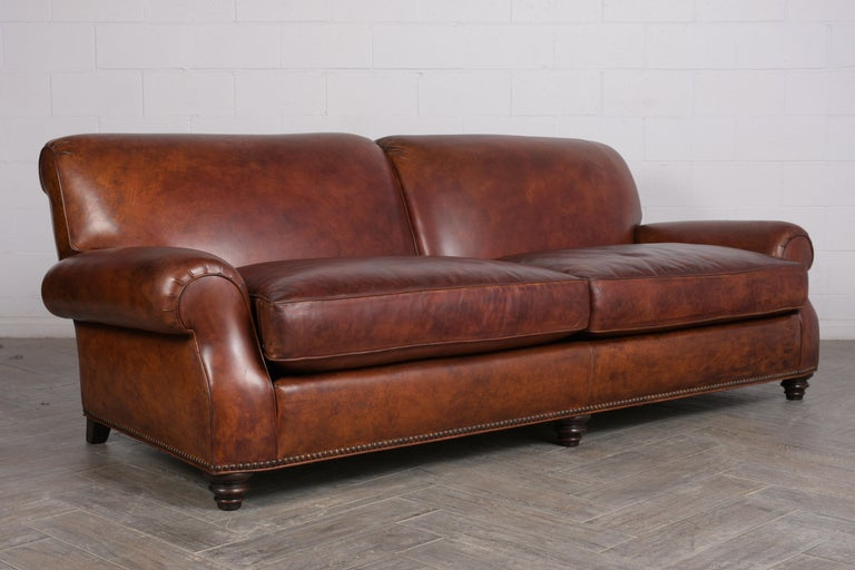 Late 20th Century Art Deco Leather Sofa For Sale