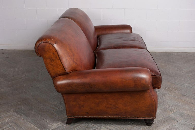 Brass Art Deco Leather Sofa For Sale
