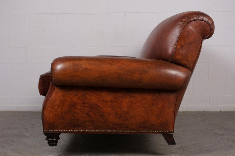 Art Deco Leather Sofa For Sale 1