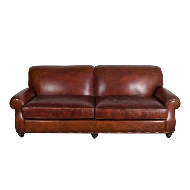Art Deco Leather Sofa For Sale