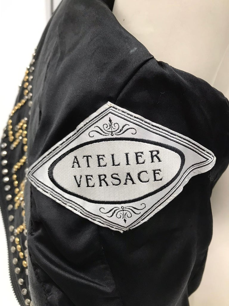 1990S Atelier Versace Black Leather 1991 Cropped Biker Jacket Covered In Gold S For Sale 6