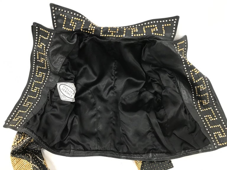 1990S Atelier Versace Black Leather 1991 Cropped Biker Jacket Covered In Gold S For Sale 7