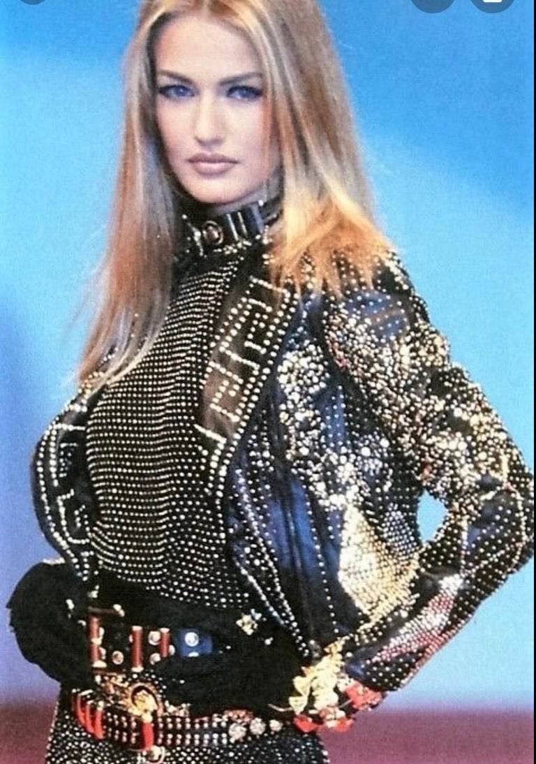 1990S Atelier Versace Black Leather 1991 Cropped Biker Jacket Covered In Gold Studs & Crystals