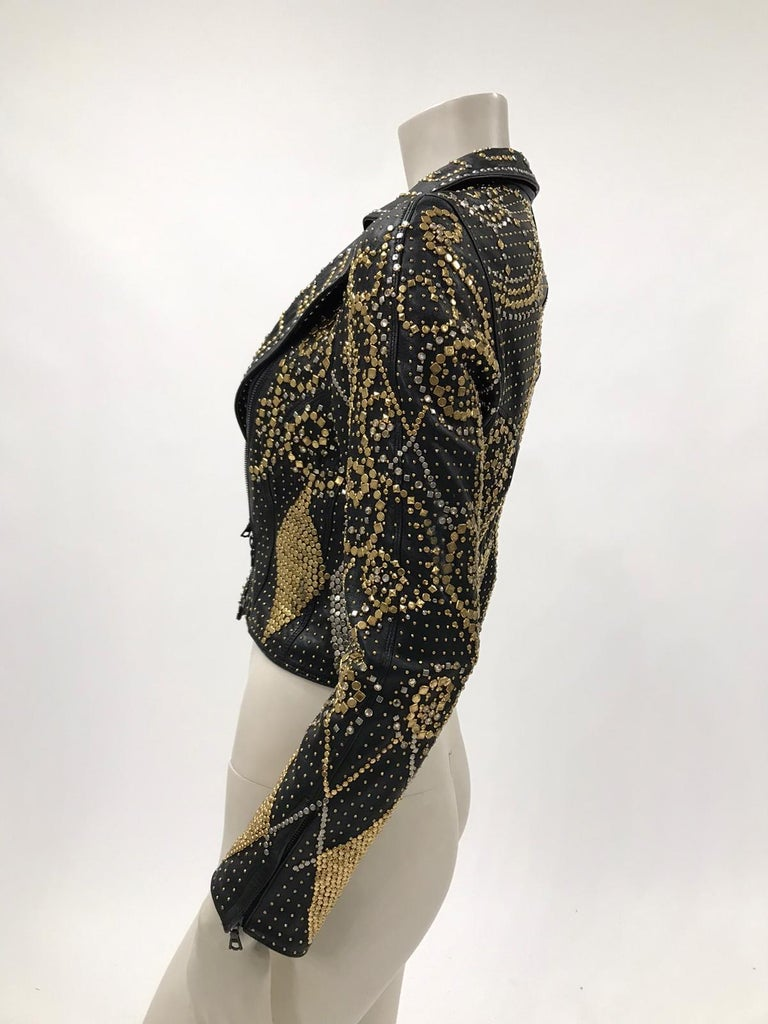 Women's 1990S Atelier Versace Black Leather 1991 Cropped Biker Jacket Covered In Gold S For Sale