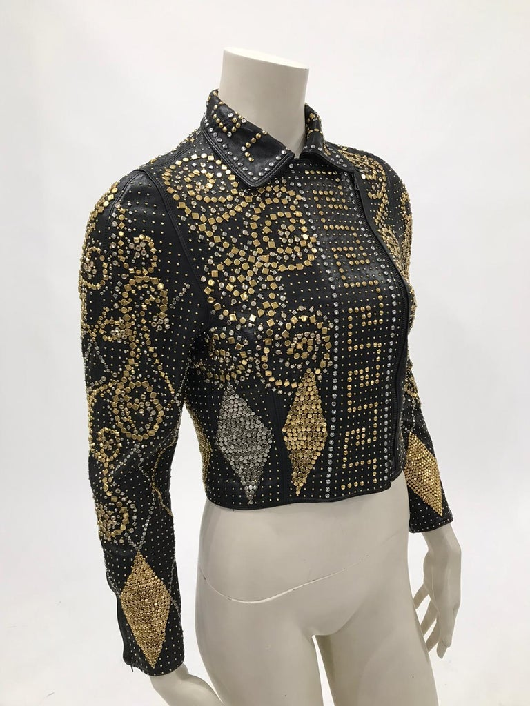 1990S Atelier Versace Black Leather 1991 Cropped Biker Jacket Covered In Gold S For Sale 2