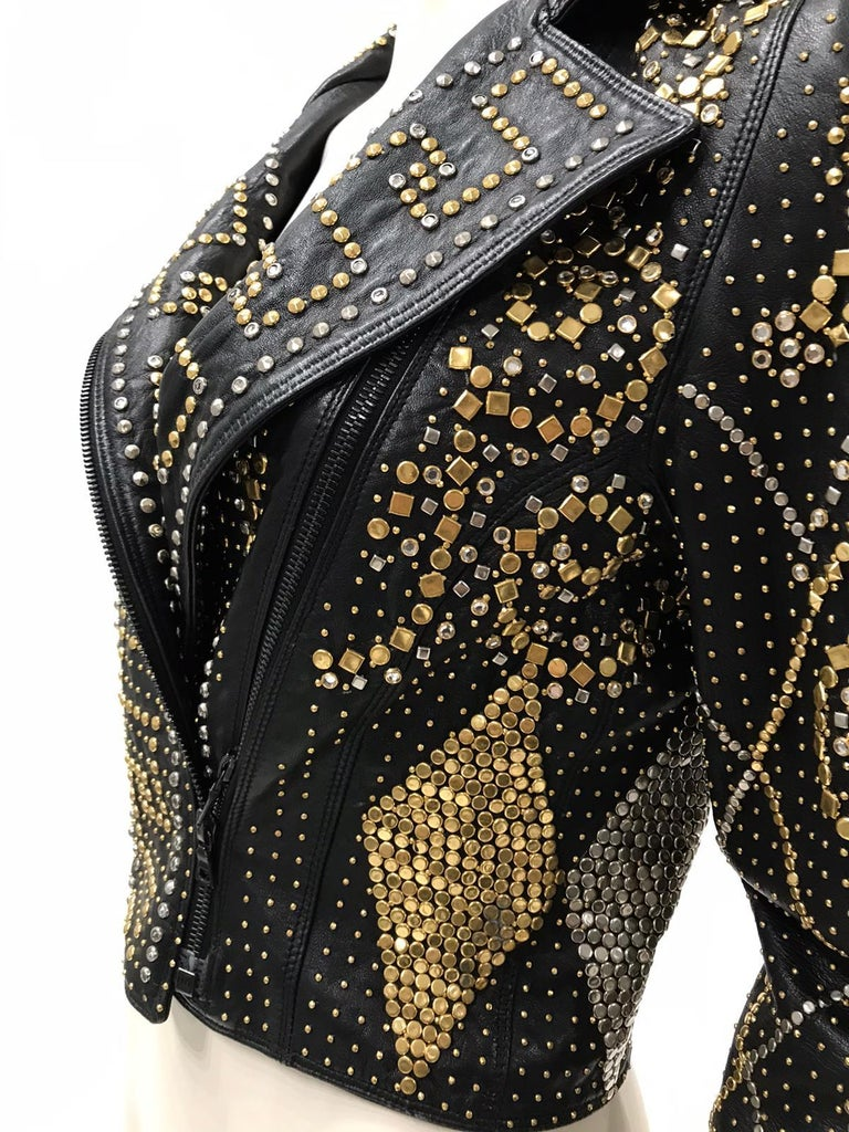 1990S Atelier Versace Black Leather 1991 Cropped Biker Jacket Covered In Gold S For Sale 3