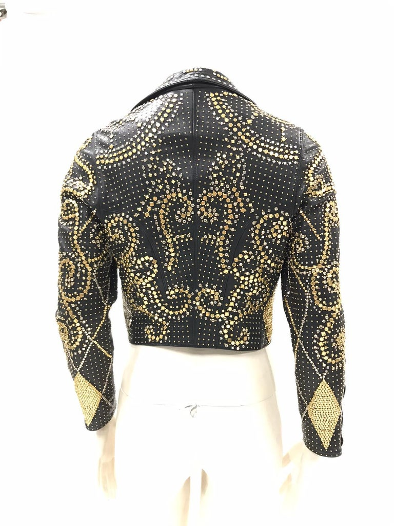 1990S Atelier Versace Black Leather 1991 Cropped Biker Jacket Covered In Gold S For Sale 4