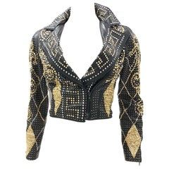 1990S Atelier Versace Black Leather 1991 Cropped Biker Jacket Covered In Gold S