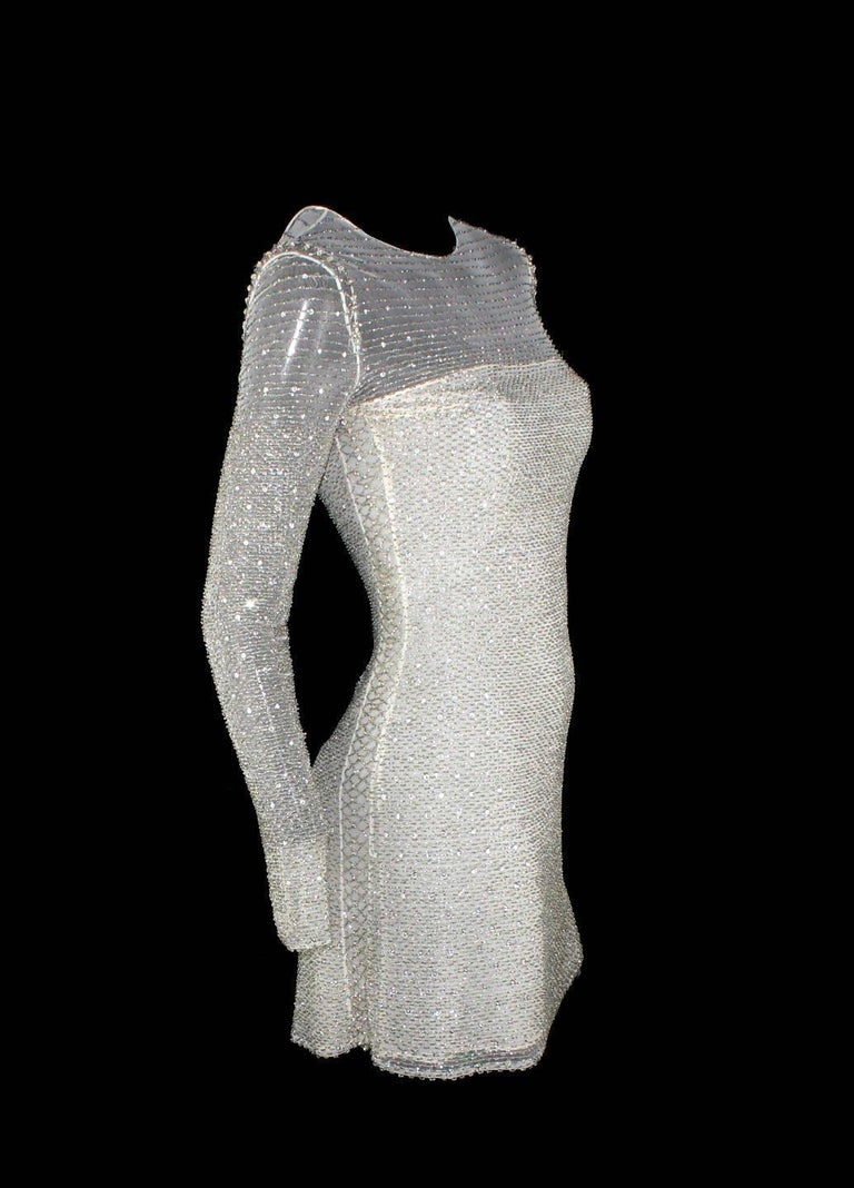 Atelier Versace by Gianni Versace Beaded Mesh Silk Dress, 1990s   In Excellent Condition For Sale In Switzerland, CH