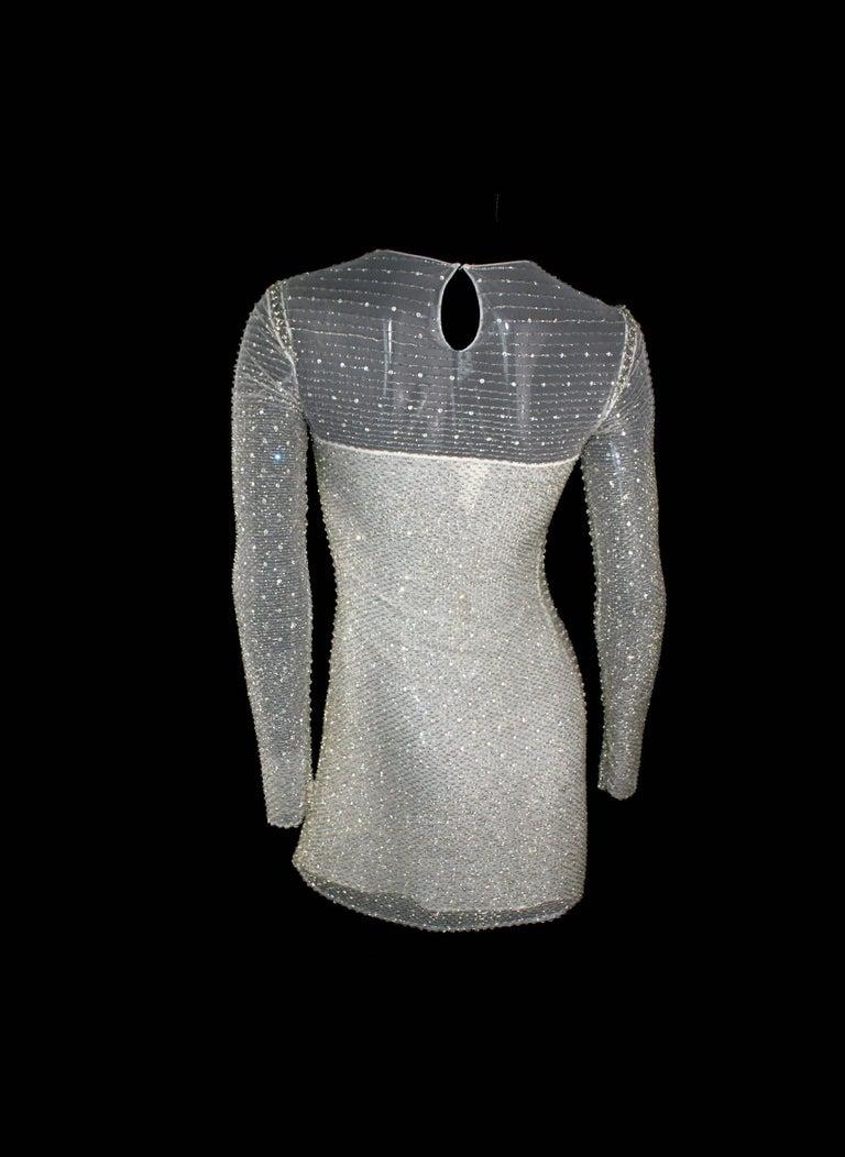 Women's Atelier Versace by Gianni Versace Beaded Mesh Silk Dress, 1990s   For Sale