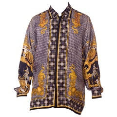 1990s Atelier Versace Men's Silk Printed Crocodile & Medusa Shirt with Knights