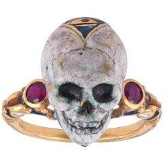 1990s Attilio Codognato Renaissance Revival Enamel Ruby Gold Skull Ring