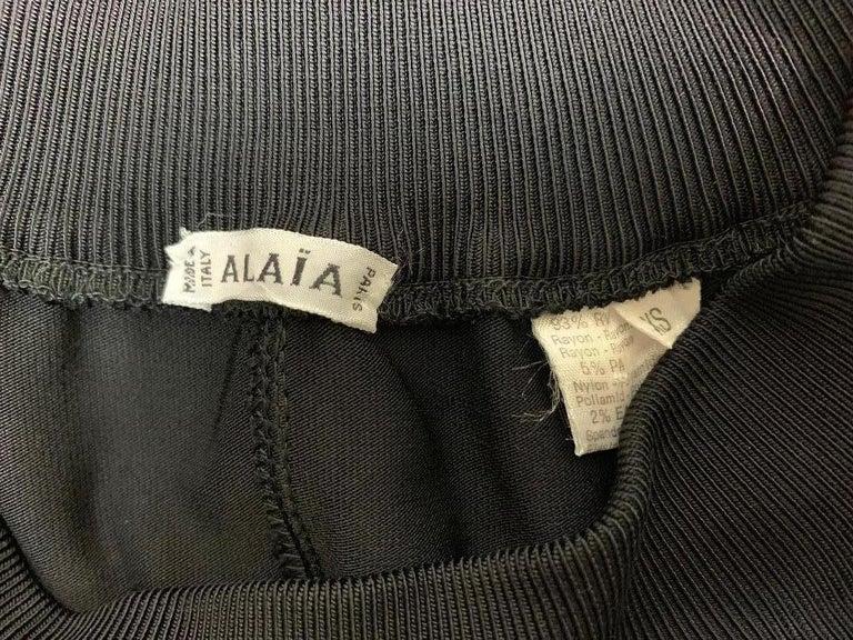 Women's 1990's Azzedine Alaia Black Knit Bodycon Off Shoulder Catsuit Jumpsuit For Sale
