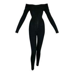 1990's Azzedine Alaia Black Knit Bodycon Off Shoulder Catsuit Jumpsuit