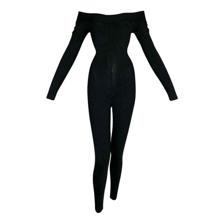 1990's Azzedine Alaia Black Knit Bodycon Off Shoulder Catsuit Jumpsuit For Sale