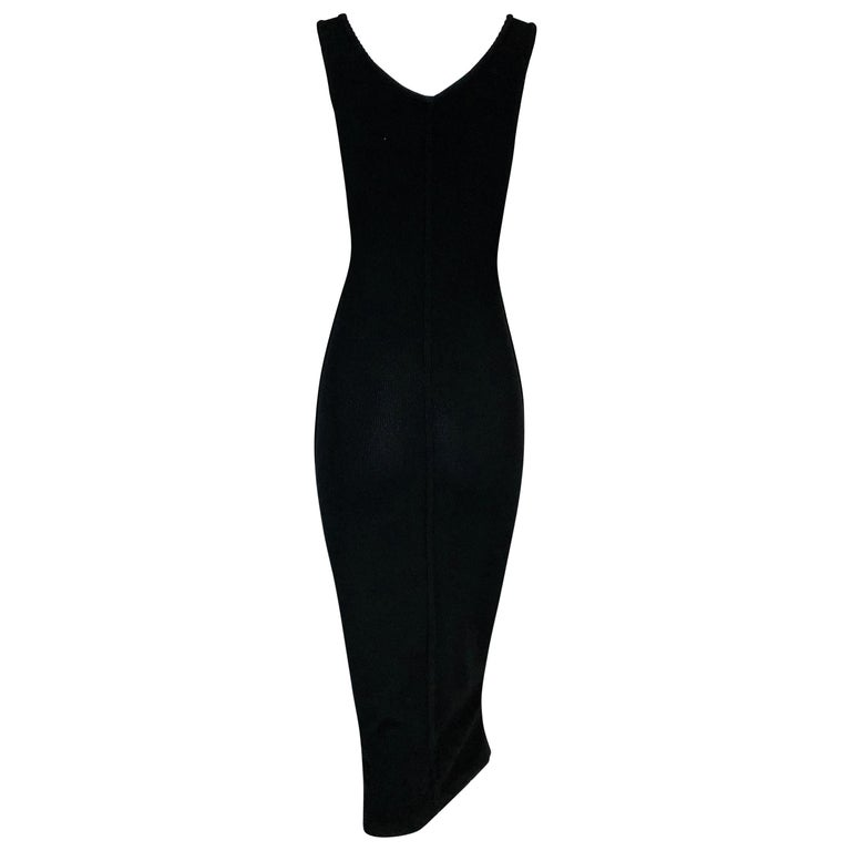 1990's Azzedine Alaia Black Plunging Chestless Suspender Midi Dress In Good Condition For Sale In Yukon, OK