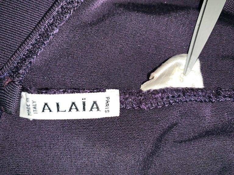 1990's Azzedine Alaia Dark Purple Strappy Bodycon Wiggle Mini Dress In Good Condition For Sale In Yukon, OK