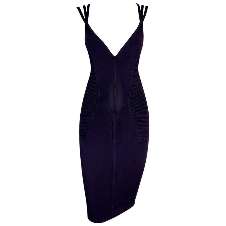 1990's Azzedine Alaia Dark Purple Strappy Bodycon Wiggle Mini Dress For Sale