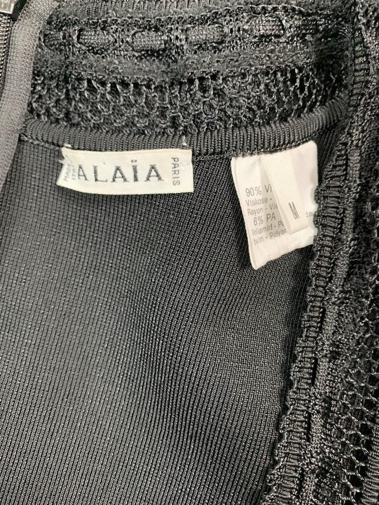 Women's 1990's Azzedine Alaia Sheer Black Knit Wiggle Bodycon Dress For Sale