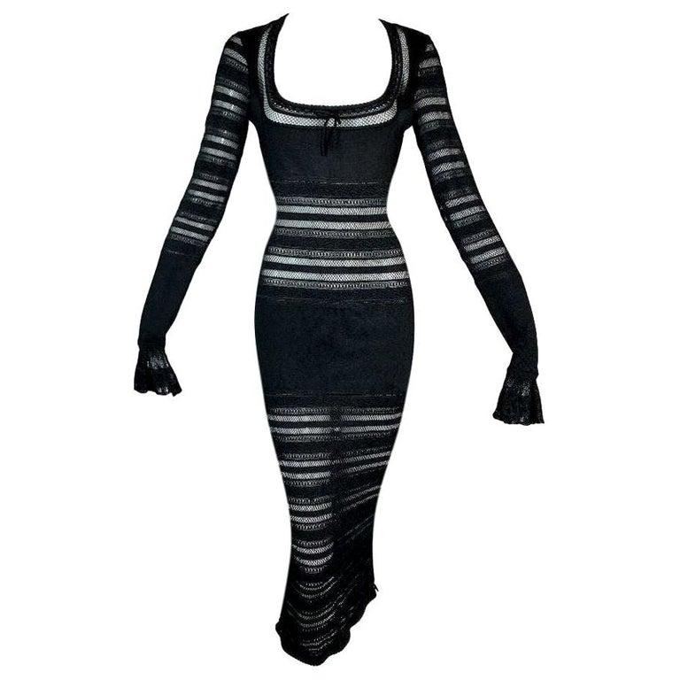 1990's Azzedine Alaia Sheer Black Knit Wiggle Bodycon Dress For Sale