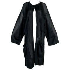1990's Azzedine Alaia Sheer Black Slinky Baggy Knit Sweater Coat M