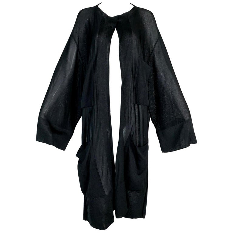 1990's Azzedine Alaia Sheer Black Slinky Baggy Knit Sweater Coat M For Sale