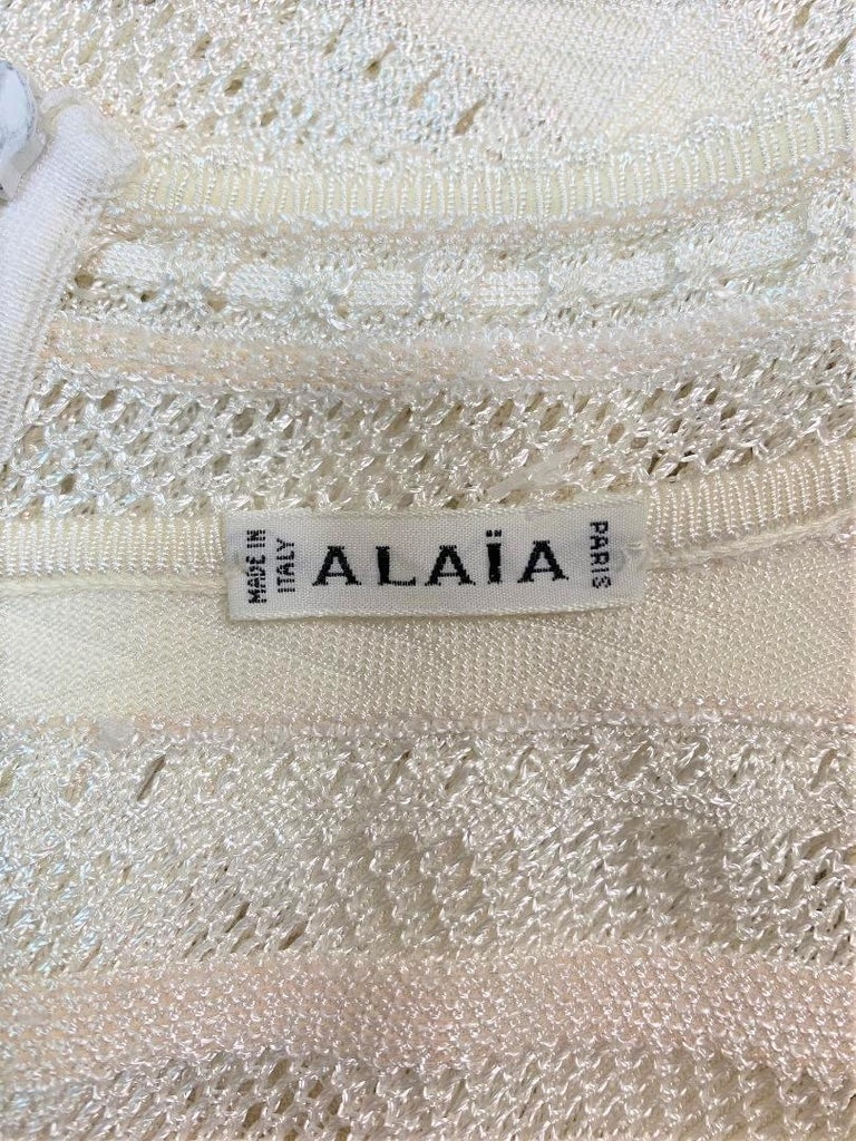 Gray 1990's Azzedine Alaia Sheer Ivory Knit Bodycon Wiggle Mini Dress For Sale