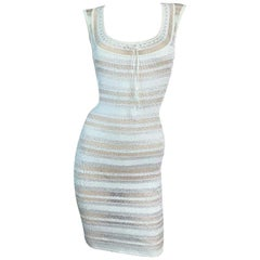 1990's Azzedine Alaia Sheer Ivory Knit Bodycon Wiggle Mini Dress