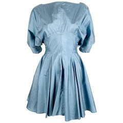 1990's AZZEDINE ALAIA turquoise nylon dress with full skirt