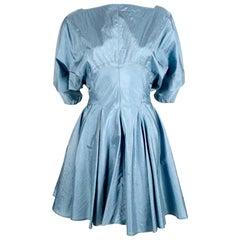 1990's AZZEDINE ALAIA turquoise nylon dress with full skirt