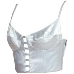 1990'S GIANNI VERSACE Baby Blue Satin Bra Top Buster Bustier