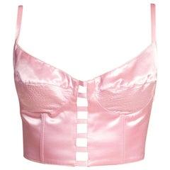 1990'S Baby Pink Satin Gianni Versace Bra Top Buster