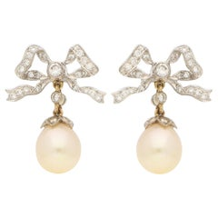 1990s Belle Epoque Style Pearl and Diamond Bow Drop Earrings