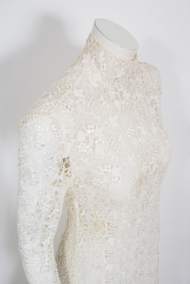 Gray Vintage 1990's Bernard Perris Couture Ivory Lace Silk Long Sleeve Low-Back Gown For Sale