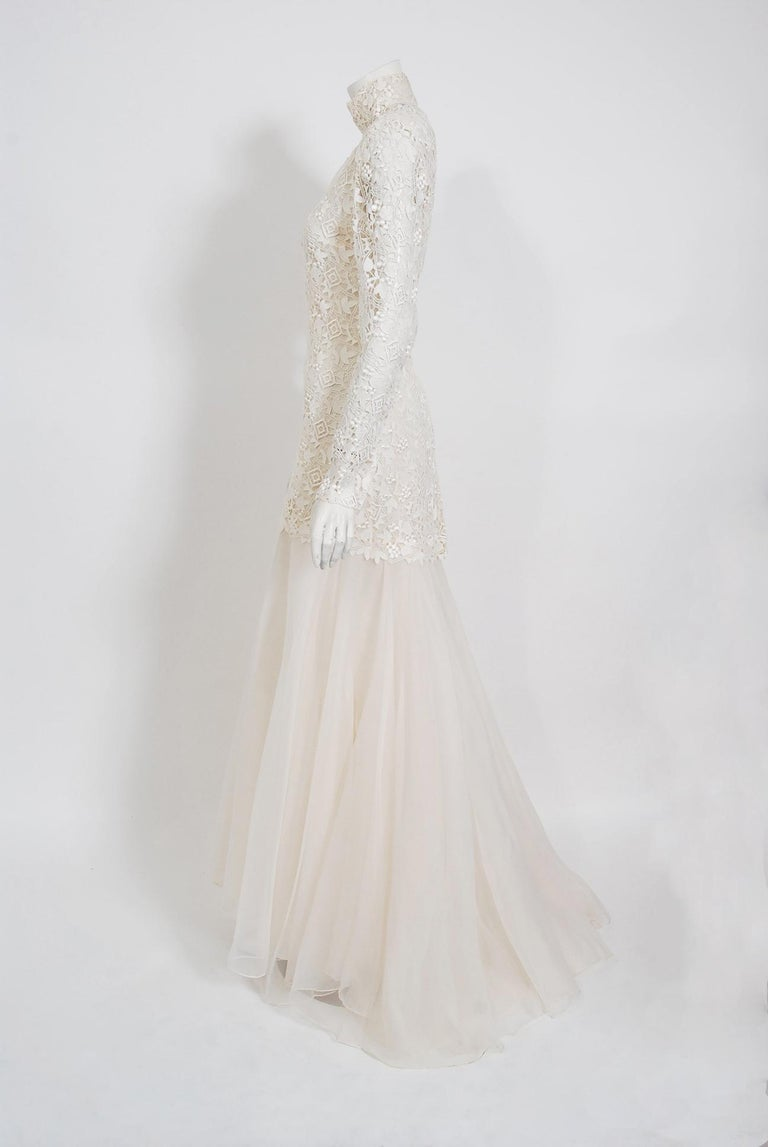 Women's Vintage 1990's Bernard Perris Couture Ivory Lace Silk Long Sleeve Low-Back Gown For Sale