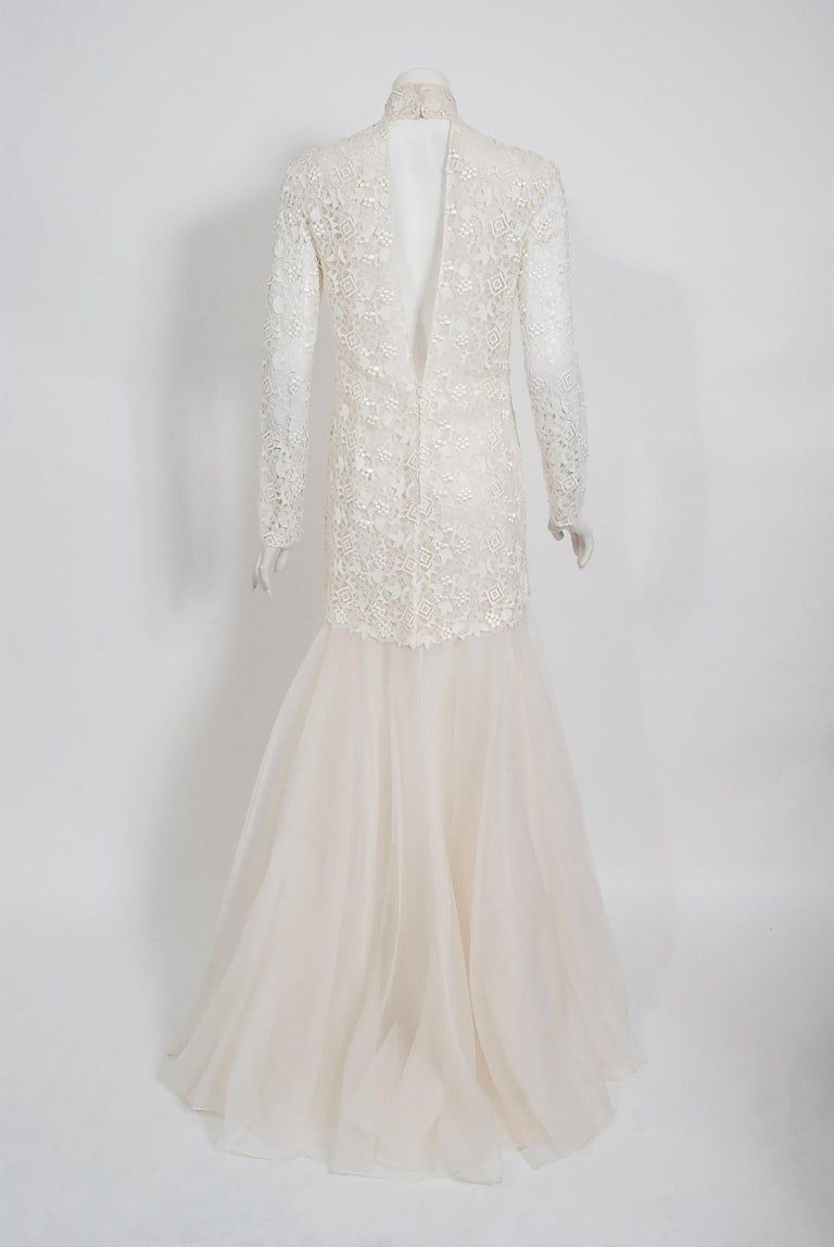 Vintage 1990's Bernard Perris Couture Ivory Lace Silk Long Sleeve Low-Back Gown For Sale 1