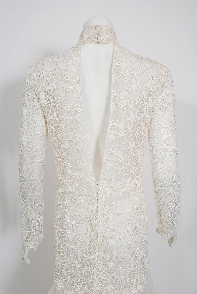 Vintage 1990's Bernard Perris Couture Ivory Lace Silk Long Sleeve Low-Back Gown For Sale 2