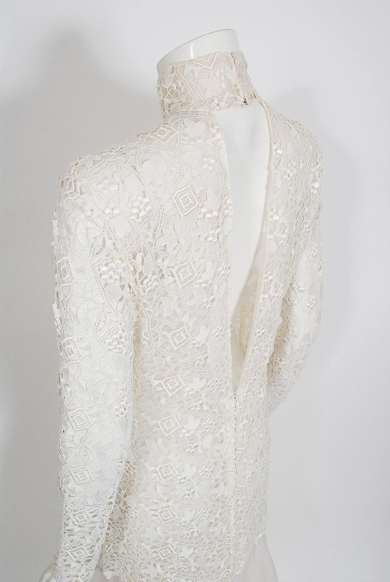 Vintage 1990's Bernard Perris Couture Ivory Lace Silk Long Sleeve Low-Back Gown For Sale 3