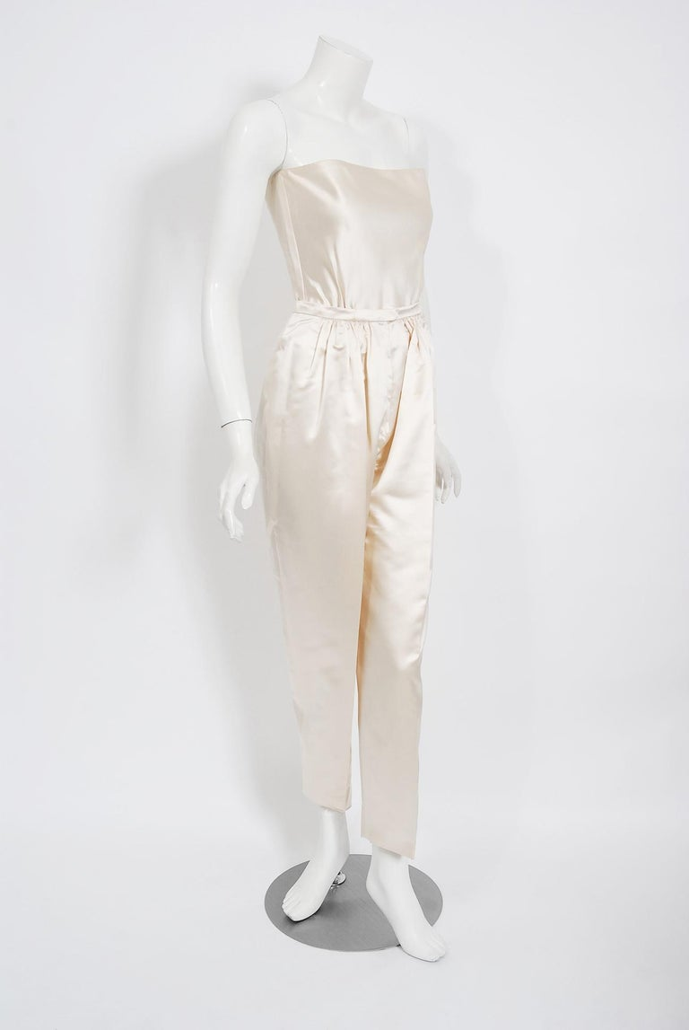 Vintage 1990's Bernard Perris Couture Ivory Silk Jumpsuit w/ Metallic Overlay For Sale 3