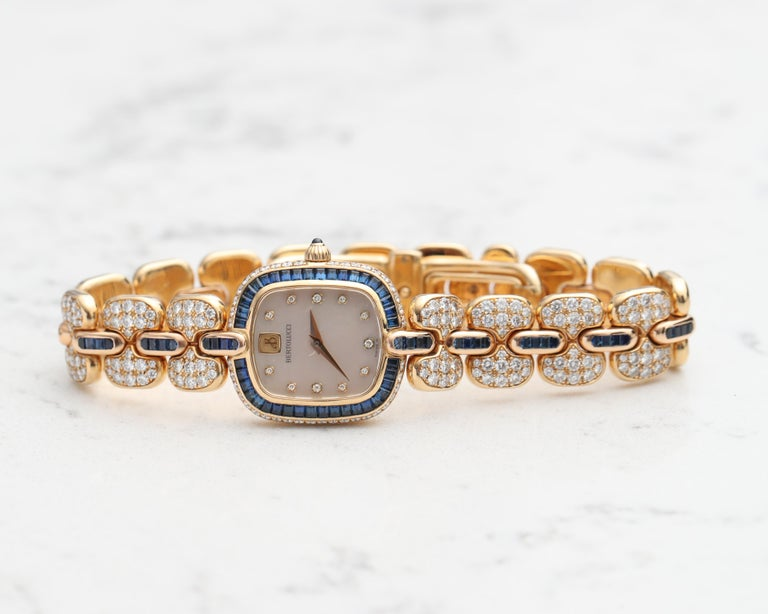 1990s Bertolucci 18 Karat Yellow Gold Wristwatch, Mother of Pearl Diamond Dial For Sale 2