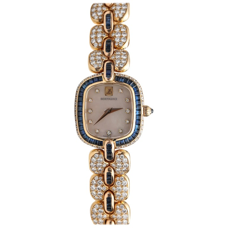 1990s Bertolucci 18 Karat Yellow Gold Wristwatch, Mother of Pearl Diamond Dial For Sale
